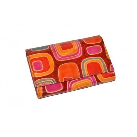 Portafoglio mod. Comfort in Cuoio Dipinto a Mano Geometrico