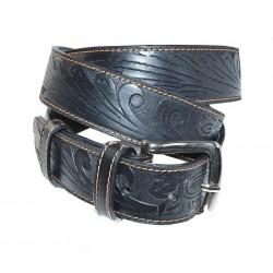 Cintura in Cuoio di Toro Nero Cucita