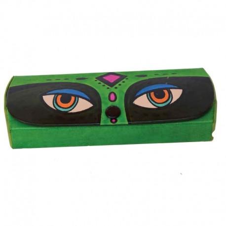 Porta-Occhiali in Cuoio dipinto a mano Disegno Occhioni