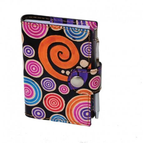 Copriagenda-Mini Estraibile in Cuoio Dipinto a Mano disegno Spirali