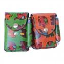 Portasigarette in Cuoio con Porta Accendino disegno Elefantini