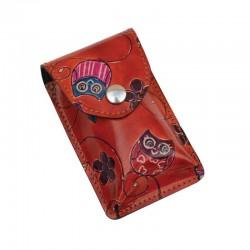 Portasigarette Slim in Cuoio decorato con disegno Gufetti