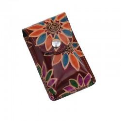 Portasigarette Slim in Cuoio decorato con disegno Girasoli