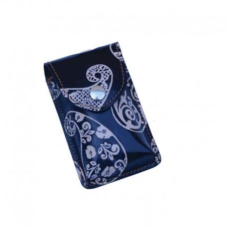 Portasigarette Slim in Cuoio decorato con disegno Kashmir