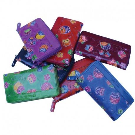 Portafoglio artigianale da Donna modello Zipper in Cuoio con decorazione Gufetti