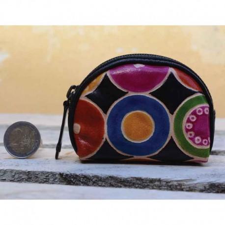 Portamonete in Cuoio modello a Mezzaluna con disegno Cerchi