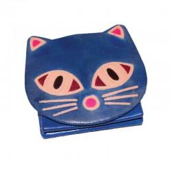Portamonete Gattino in Cuoio Dipinto a Mano