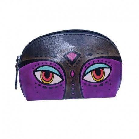 Portatrucchi Ovale Piccolo in cuoio dipinto a mano con disegno Occhioni Nero
