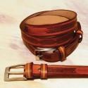 Cintura in Cuoio di Toro con Decorazione Filigrana 3 Cm.