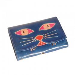 Portafoglio Grande-Special in cuoio con disegno Gattone