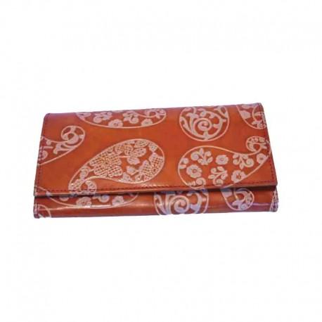 Portafoglio modello Bustone disegno Kashmir Arancione