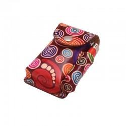 Portasigarette in cuoio con Porta Accendino per pacchetti 100s con disegno Spirali