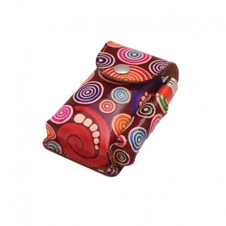 Portasigarette in cuoio con Porta Accendino per 100s disegno Spirali