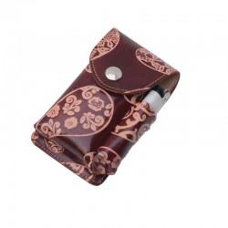 Portasigarette in cuoio con Porta Accendino per pacchetti 100s con disegno Kashmir